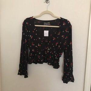 Urban Outfitters Black Floral Top